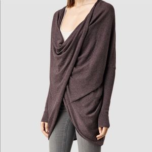 All saints draped sweater charcoal gray